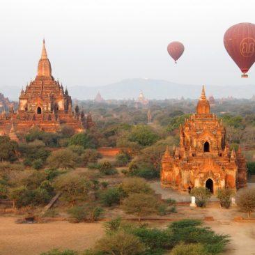 myanmar bagan sunset hot air balloon view