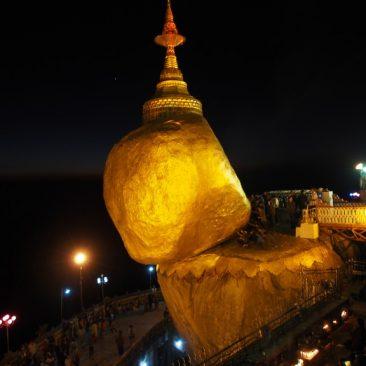 myanmar golden rock at night
