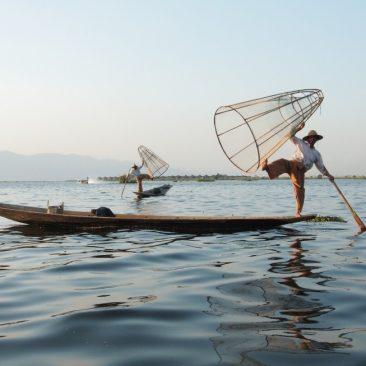 myanmar inle lake fishermen with nets