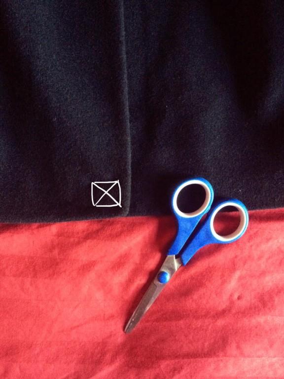 wordless instruction to cut jacket thread